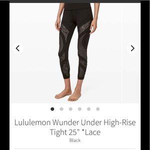 "Lululemon High Rise Wunder Under Tight 25"" Lace"